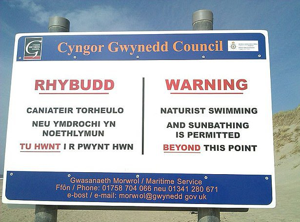 Welsh beach sign